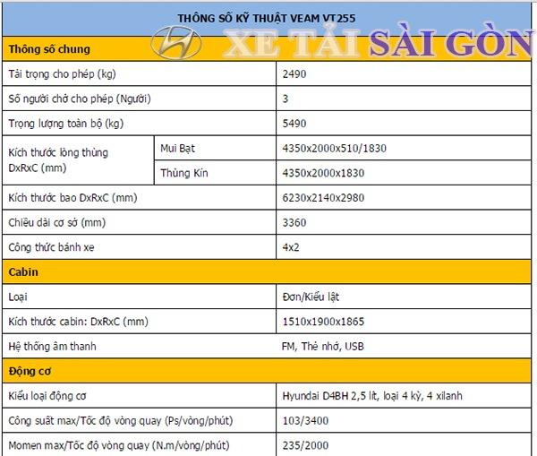 thong-so-xe-tai-veam-vt255