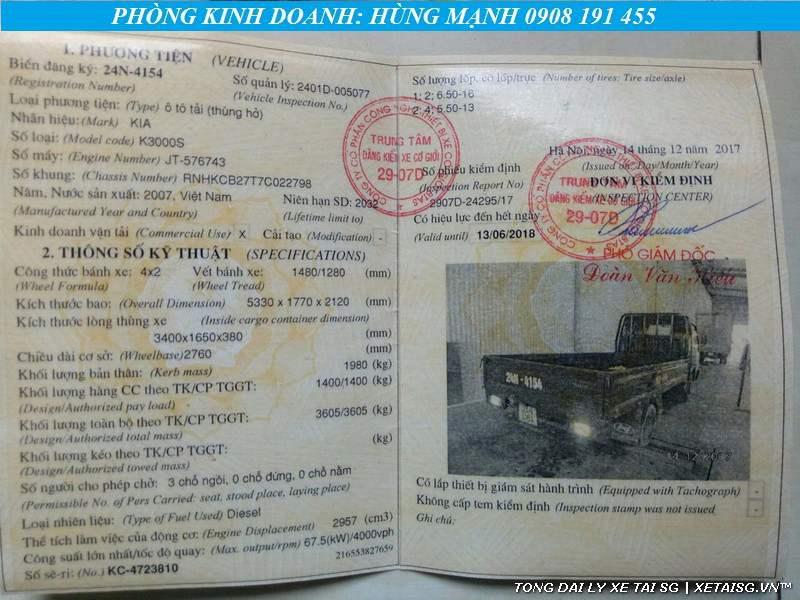 sổ đăng kiểm Xe tải Kia cũ K3000 thùng lững đời 2008